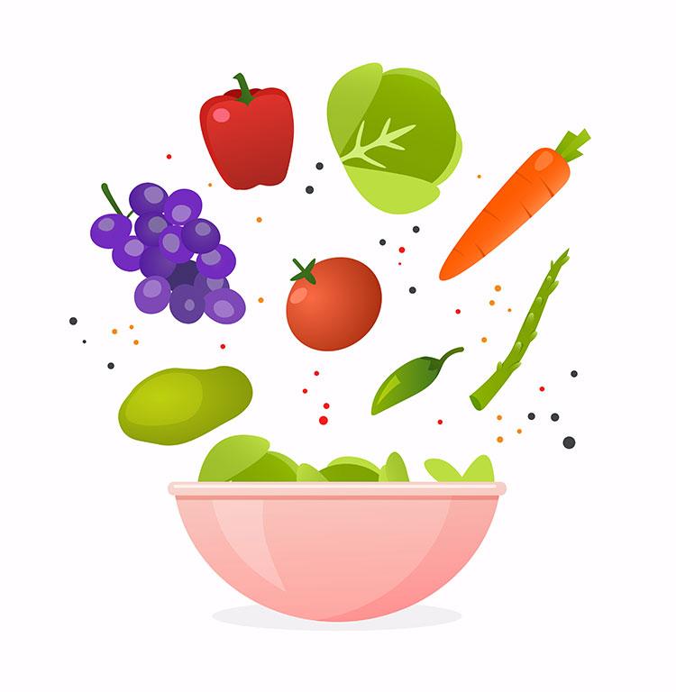 miska z owocami i warzywami